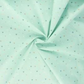 Tissu popeline de coton Mi corazon - menthe x 10cm