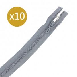 Pack of 10 non-separating zips 6 mm - 20 cm - dark grey