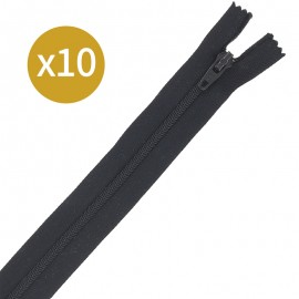 Pack of 10 non-separating zips - 18 cm - off-white