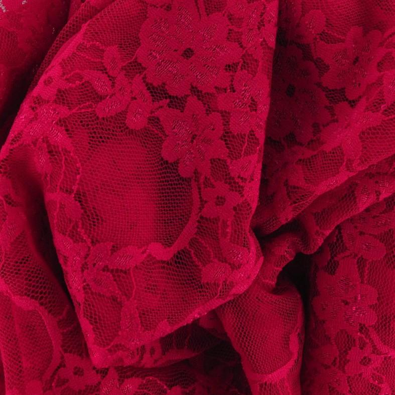 6b0425ff9223 Tissu Dentelle Fleurie framboise x 10cm - Ma Petite Mercerie