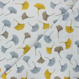 Double jersey muslin fabric - light grey Ginkgo x 10cm