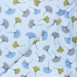 Double jersey muslin fabric - light blue Ginkgo x 10cm