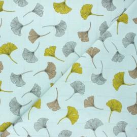 Double jersey muslin fabric - sage green Ginkgo x 10cm