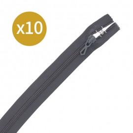 Pack of 10 non-separating zips - 18 cm - black