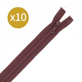 Pack of 10 non-separating zips 6 mm - 20 cm - auburn brown
