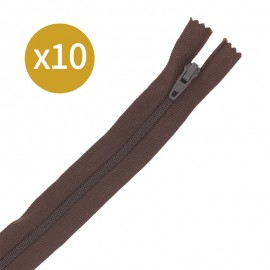 Pack of 10 non-separating zips 6 mm - 20 cm - chocolate brown