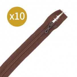Pack of 10 non-separating zips 6 mm - 20 cm - brown