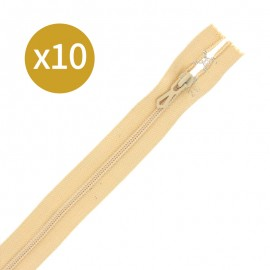 Pack of 10 non-separating zips 6 mm - 20 cm - beige