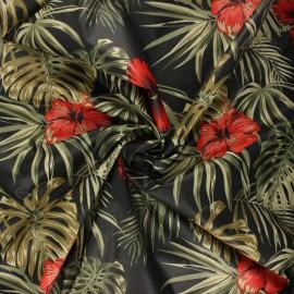 Polyester fabric - black Hibiscus flower x 10cm