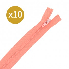 Pack of 10 non-separating zips - 17cm - guava pink