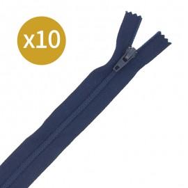 Lot de 10 fermetures éclairs non séparables 17 cm - bleu marine