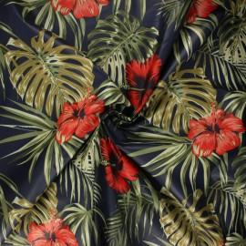 Tissu toile parachute Hibiscus flower - bleu nuit x 10cm