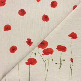 Tissu toile polycoton Amapola - rouge x 10cm