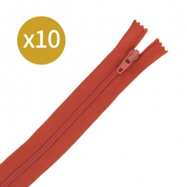 Pack of 10 non-separating zips - 18 cm - rust red