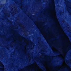Tissu Dentelle Fleurie bleue x 10cm