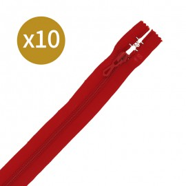 Pack of 10 non-separating zips - 18 cm - red