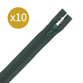 Pack of 10 non-separating zips - 18 cm - forest green