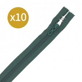 Pack of 10 non-separating zips - 18 cm - green