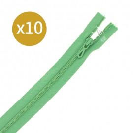 Pack of 10 non-separating zips - 18 cm - apple green