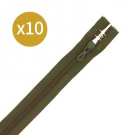 Pack of 10 non-separating zips - 18 cm - khaki green