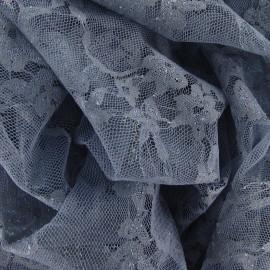Tissu Dentelle Fleurie grise x 10cm