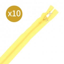 Lot de 10 fermetures éclairs non séparables 18 cm - jaune mimosa
