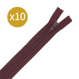 Pack of 10 non-separating zips - 18 cm - brownie