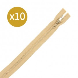 Pack of 10 non-separating zips 6 mm - 19 cm - beige