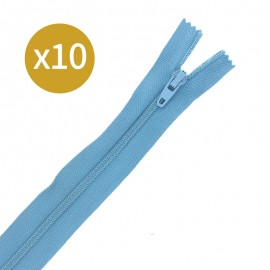 Pack of 10 non-separating zips - 15cm - blue