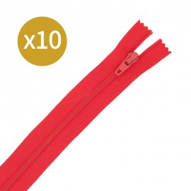 Pack of 10 non-separating zips - 17cm - red