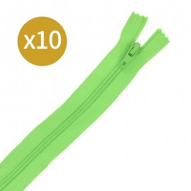 Pack of 10 non-separating zips - 17cm - lime green