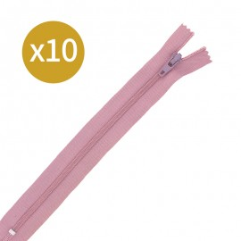 Pack of 10 non-separating zips - 17cm - rosewood pink