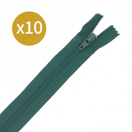 Pack of 10 non-separating zips - 17cm - pine green