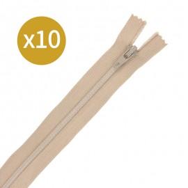 Lot de 10 fermetures éclairs non séparables 12 cm - sable