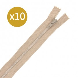 Pack of 10 non-separating zips - 12cm - sand beige