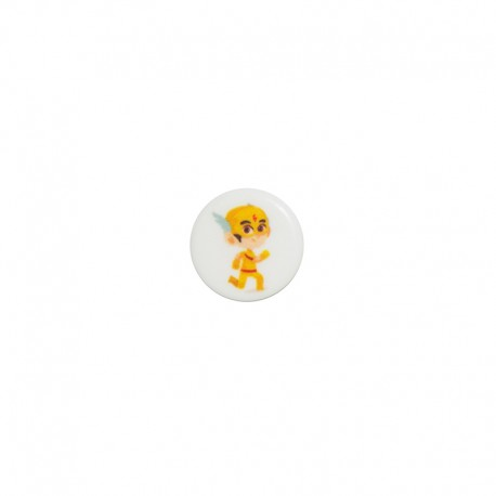 15 mm polyester button Super-héros - Alex la vitesse