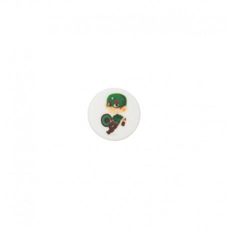 15 mm polyester button Super-héros - Hector trop fort
