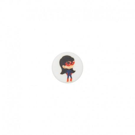 15 mm polyester button Super-héros - Daphné antigravité