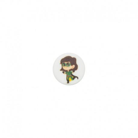 15 mm polyester button Super-héros - Fanny la télépathie