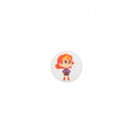 15 mm polyester button Super-héros - Clémence turbulence