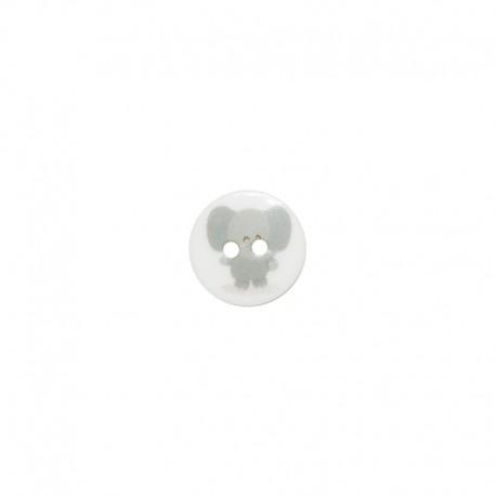 15 mm polyester button Animaux - Éléphant