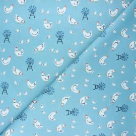 Tissu coton Dashwood Studio Farm days - Happy chickens x 10cm