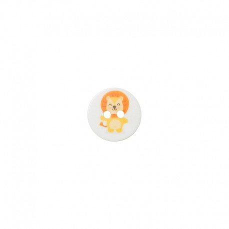 15 mm polyester button Animaux - Lion