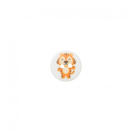 15 mm polyester button Animaux - Tigre