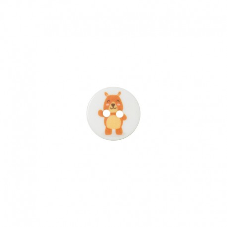 15 mm polyester button Animaux - Bear