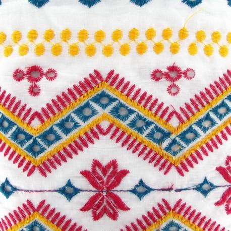 Fabric coton brodé Tzigane blanc x 10cm
