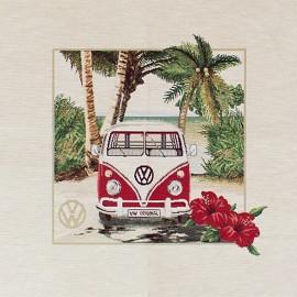 Square jacquard fabric - red Vw hibiscus Hawaii