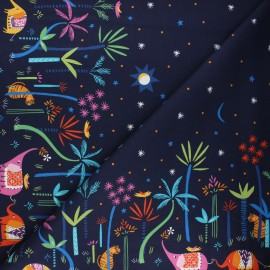Cotton Dashwood Studio fabric - Elephant night Silk roads x 10cm