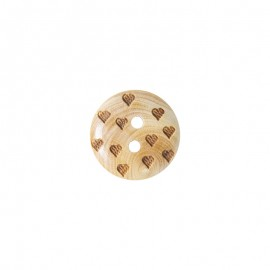 Wood button Love - natural