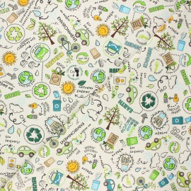 Tissu coton Timeless Treasures - Reduce, reuse, recycle - écru x 10cm